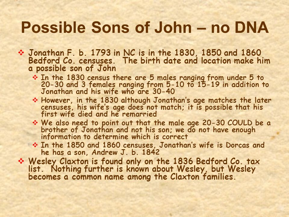 Possible Sons of John – no DNA