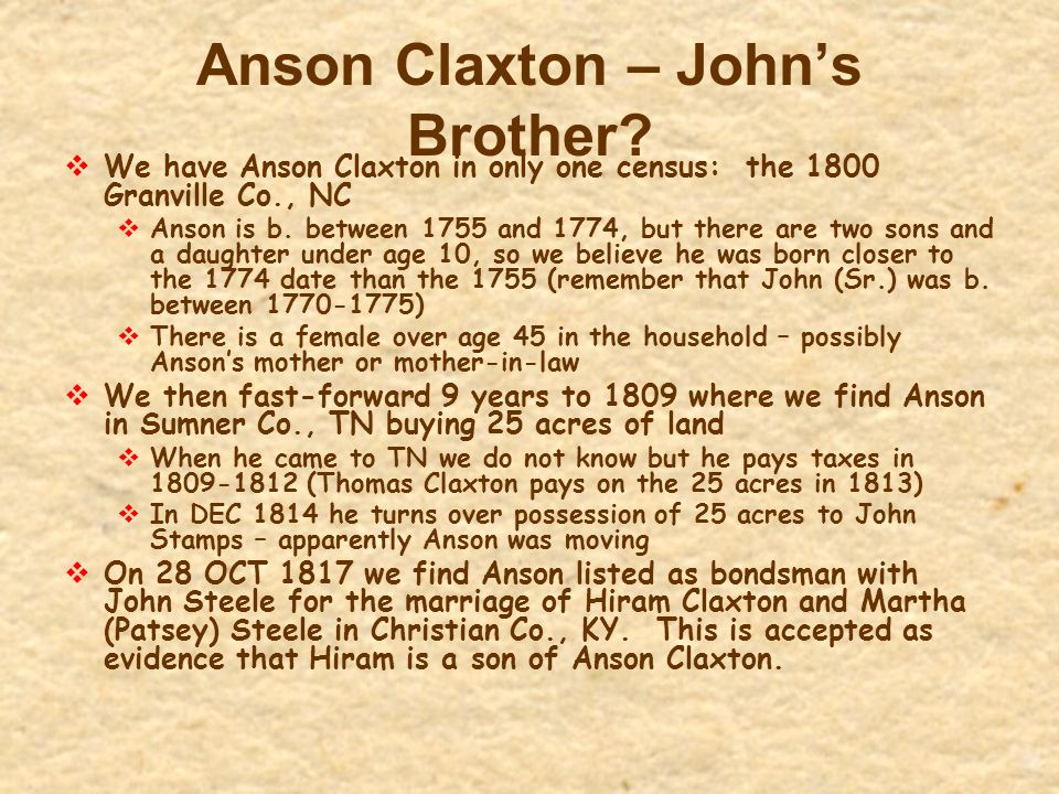 Anson Claxton – John's Brother