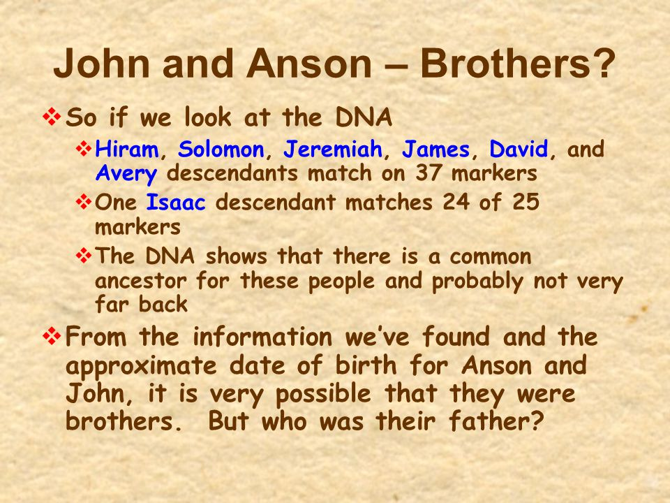John and Anson – Brothers
