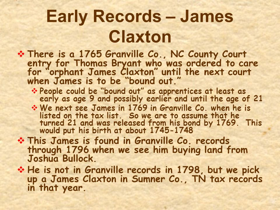 Early Records – James Claxton