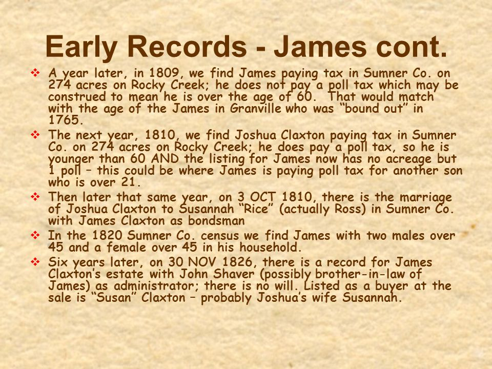 Early Records - James cont.