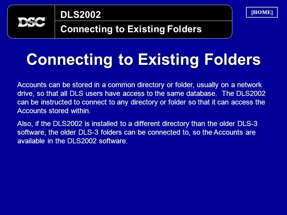 Connecting to Existing Folders
