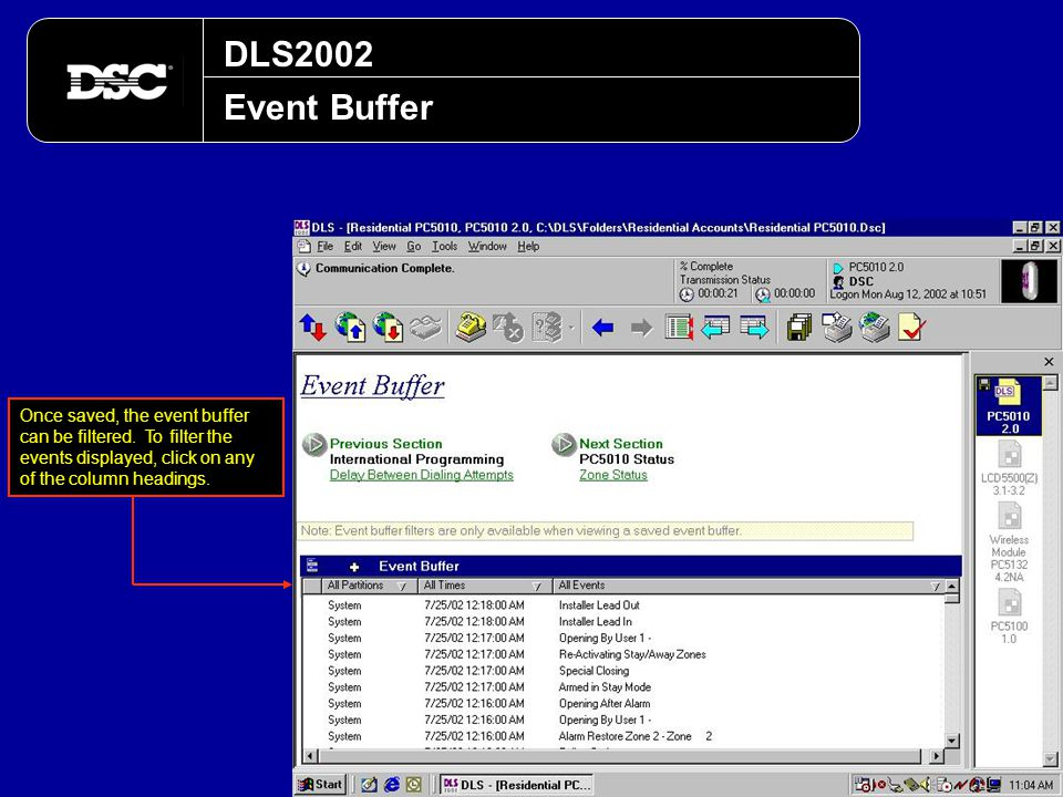 DLS2002 Event Buffer. Once saved, the event buffer can be filtered.