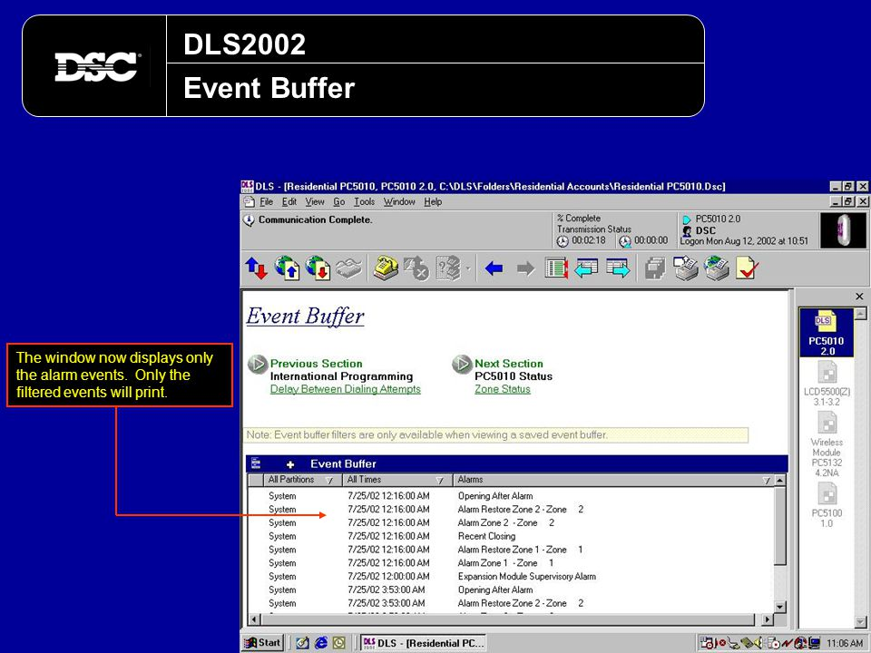 DLS2002 Event Buffer. The window now displays only the alarm events.
