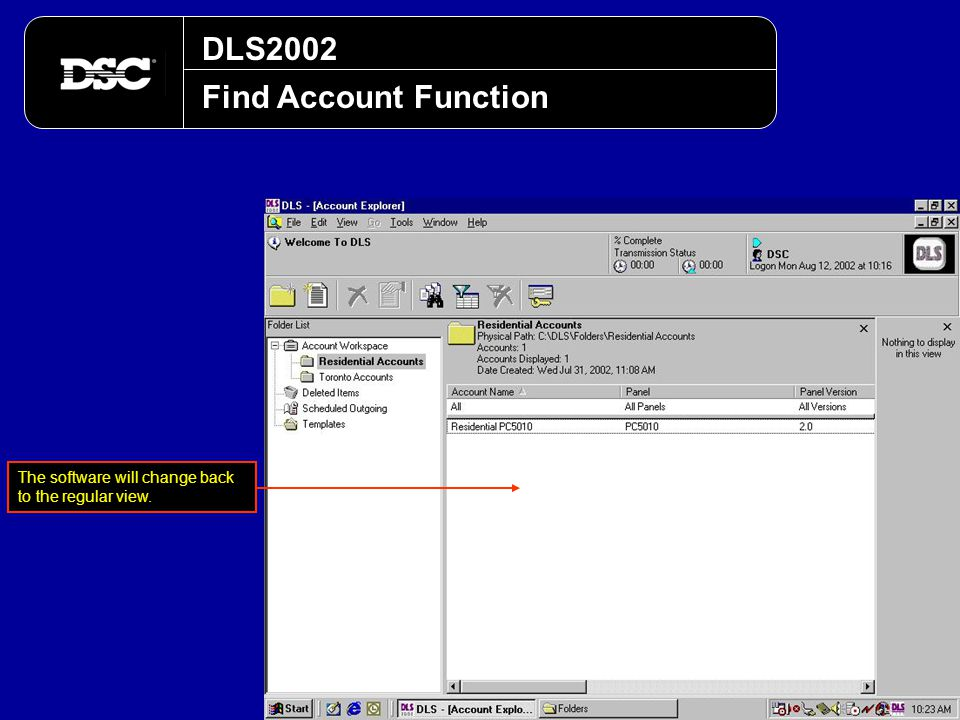 DLS2002 Find Account Function