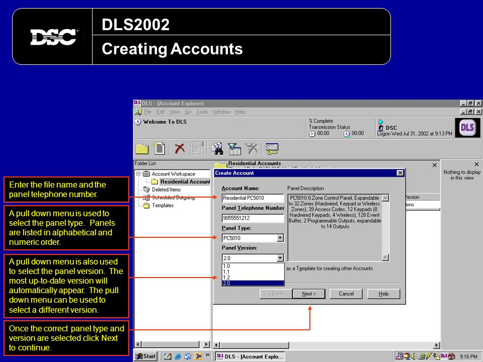 DLS2002 Creating Accounts. Enter the file name and the panel telephone number.