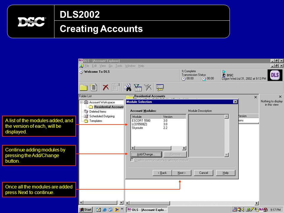DLS2002 Creating Accounts. A list of the modules added, and the version of each, will be displayed.