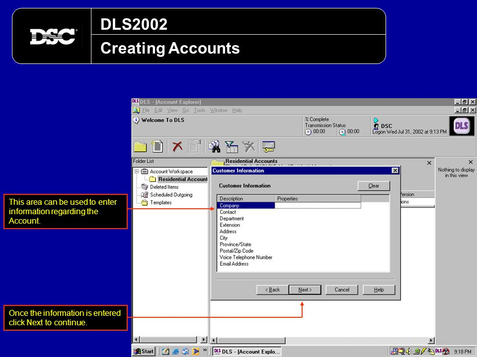 DLS2002 Creating Accounts. This area can be used to enter information regarding the Account.