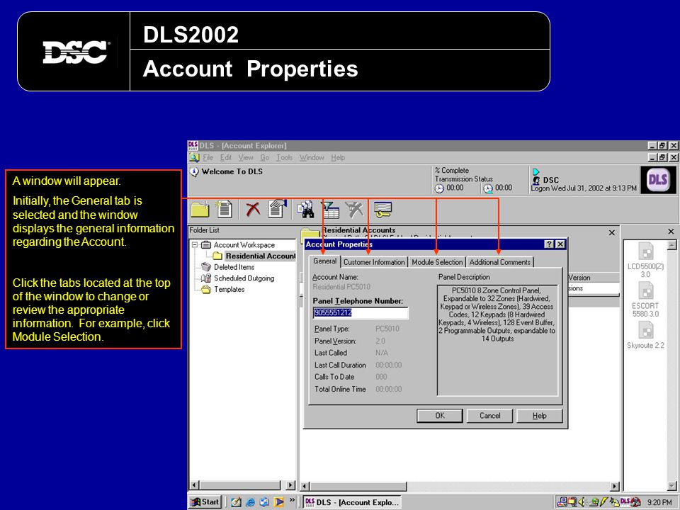 DLS2002 Account Properties A window will appear.