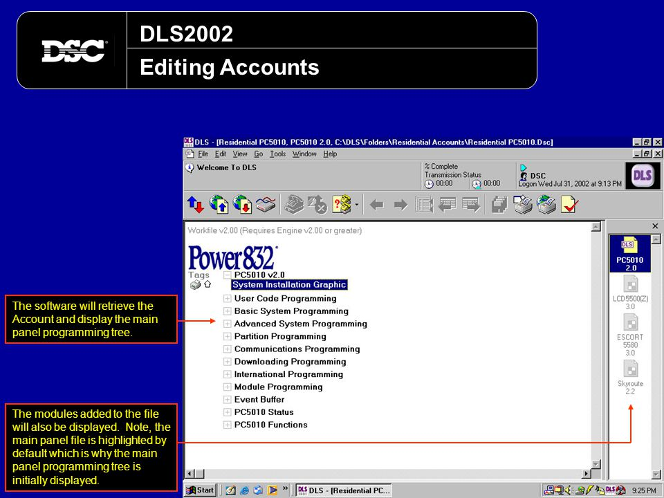 DLS2002 Editing Accounts. The software will retrieve the Account and display the main panel programming tree.