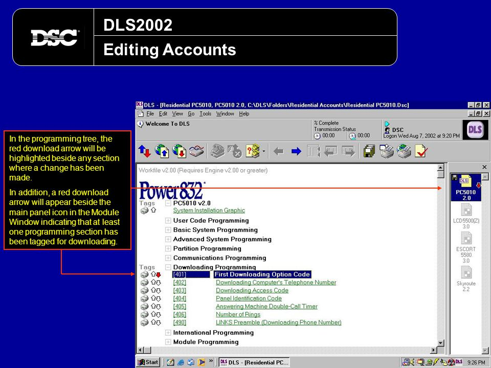 DLS2002 Editing Accounts. In the programming tree, the red download arrow will be highlighted beside any section where a change has been made.
