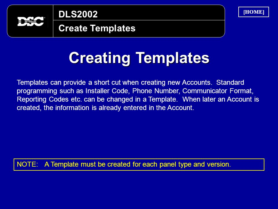 Creating Templates DLS2002 Create Templates