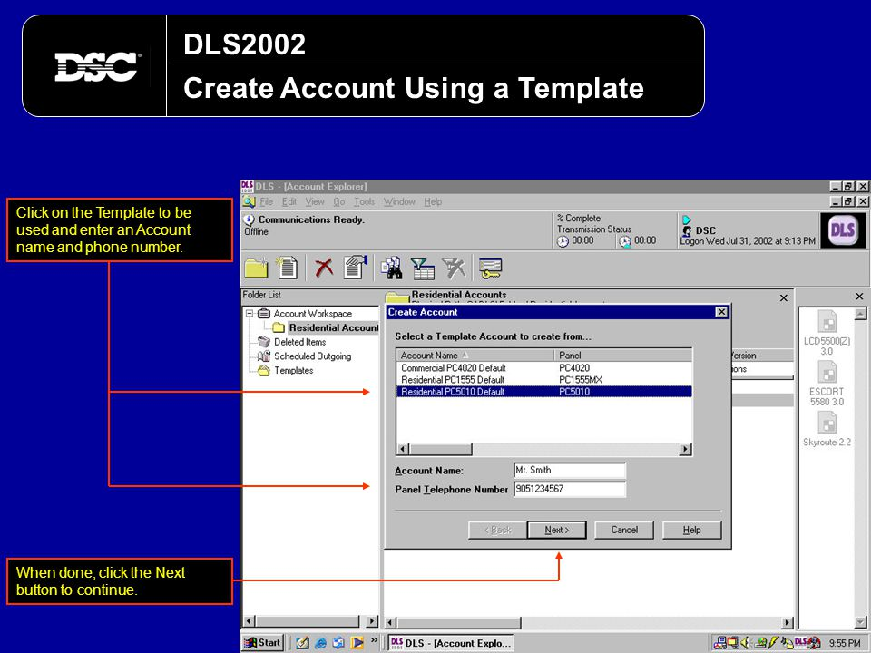 Create Account Using a Template