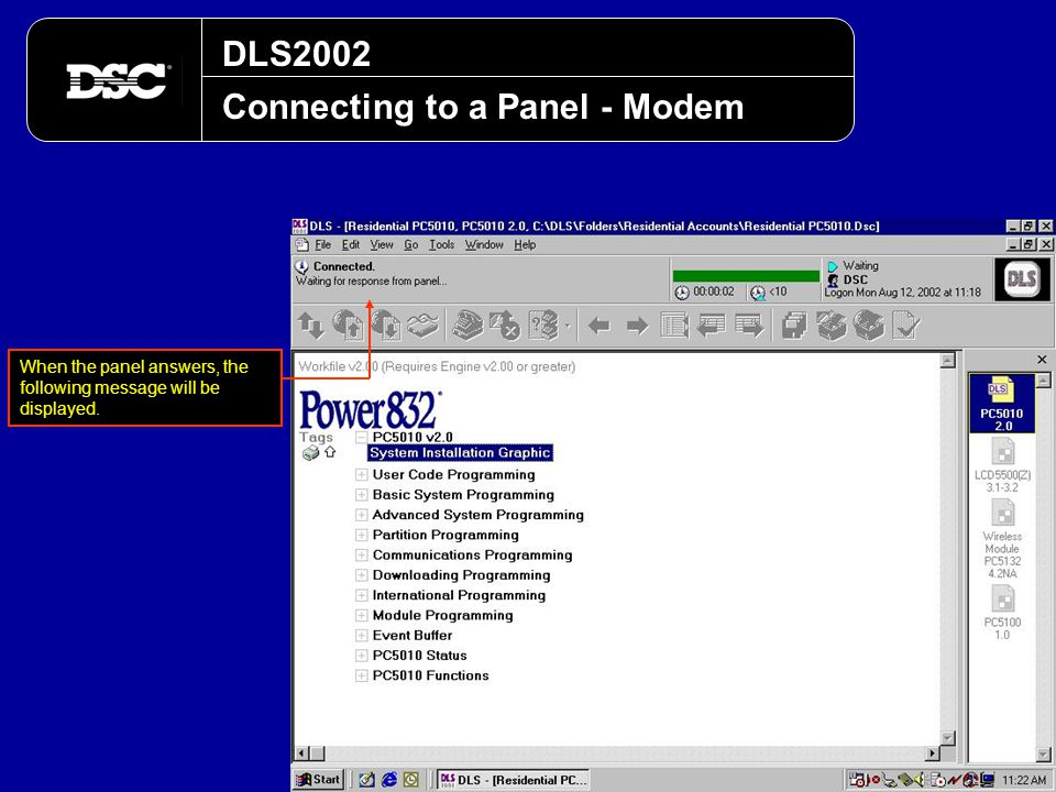 Connecting to a Panel - Modem