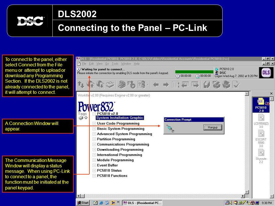 Connecting to the Panel – PC-Link