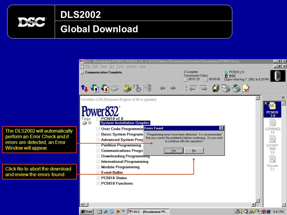 DLS2002 Global Download. The DLS2002 will automatically perform an Error Check and if errors are detected, an Error Window will appear.