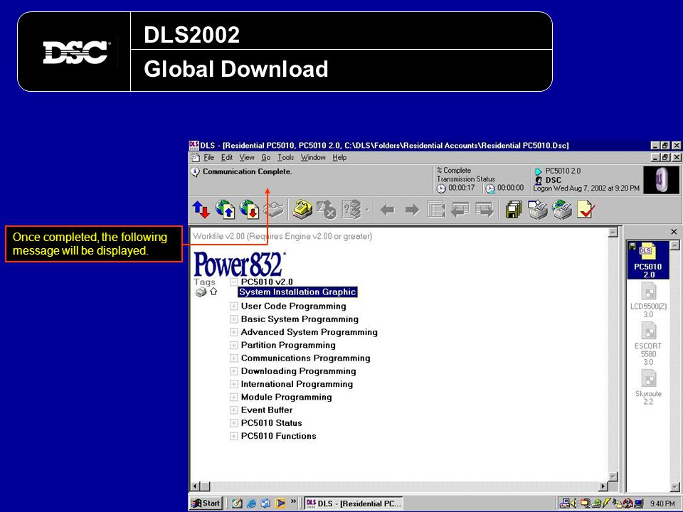 DLS2002 Global Download Once completed, the following message will be displayed.