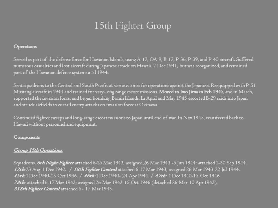 15th Fighter Group Operations