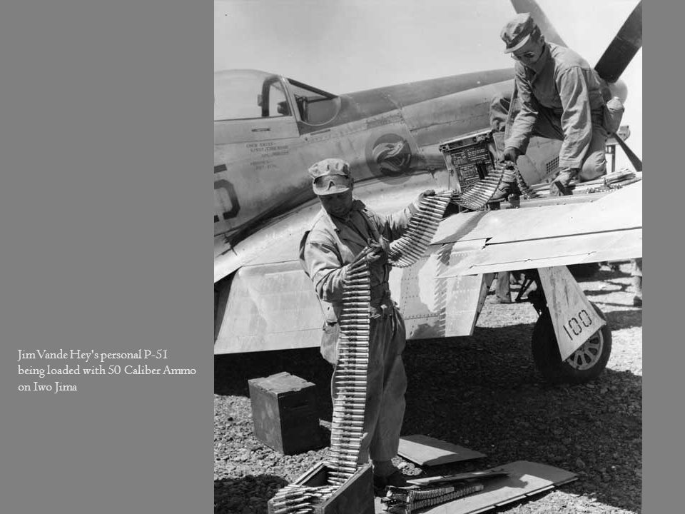 Jim Vande Hey s personal P-51 being loaded with 50 Caliber Ammo on Iwo Jima