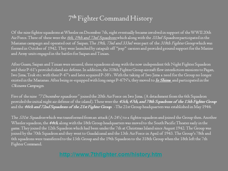 7th Fighter Command History