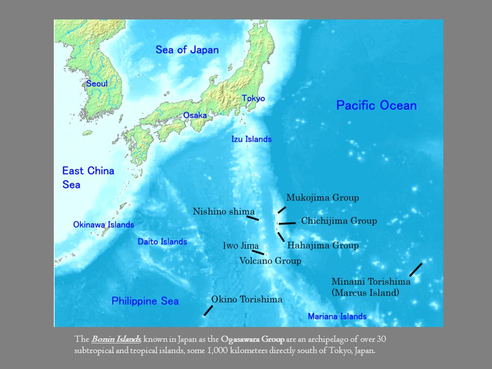The Bonin Islands, known in Japan as the Ogasawara Group are an archipelago of over 30 subtropical and tropical islands, some 1,000 kilometers directly south of Tokyo, Japan.