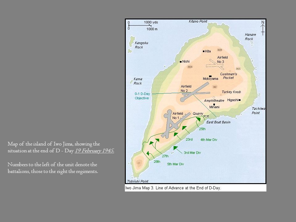 Map of the island of Iwo Jima, showing the situation at the end of D - Day 19 February 1945.