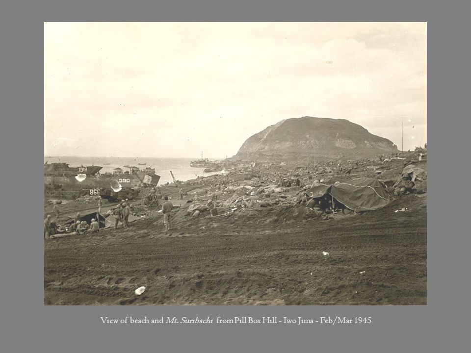 View of beach and Mt. Suribachi from Pill Box Hill - Iwo Jima - Feb/Mar 1945