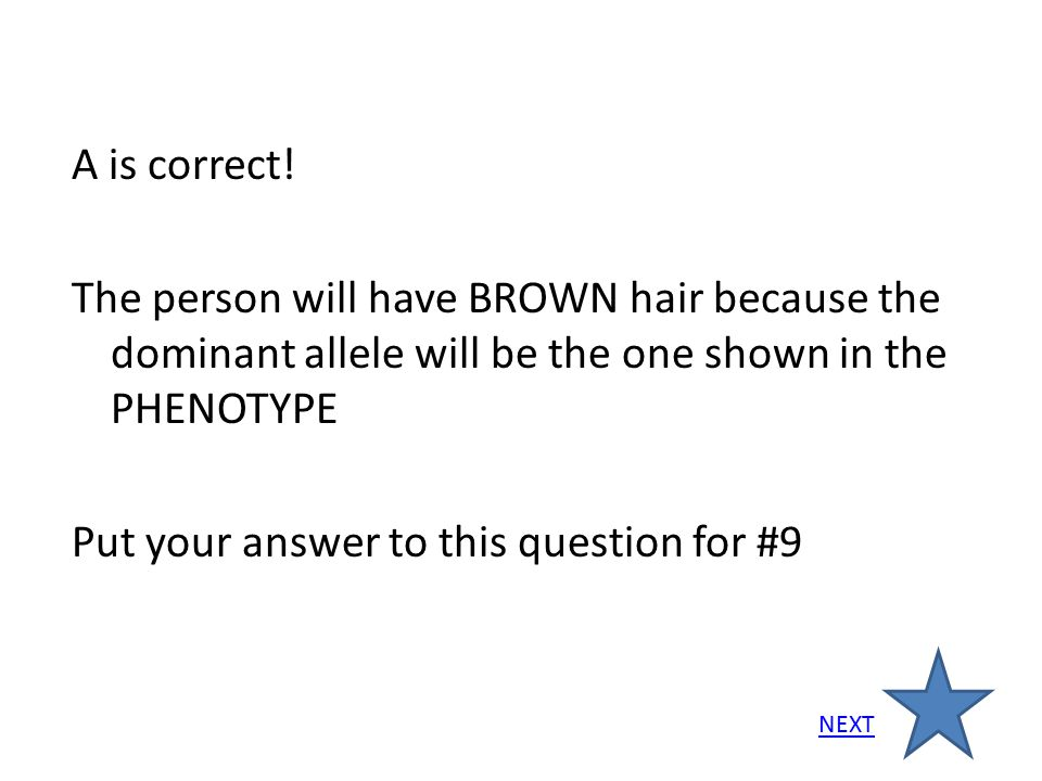 A is correct! The person will have BROWN hair because the dominant allele will be the one shown in the PHENOTYPE Put your answer to this question for #9