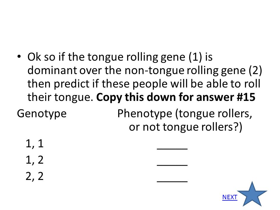 Genotype Phenotype (tongue rollers, or not tongue rollers ) 1, 1 _____