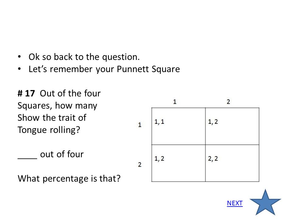 Ok so back to the question. Let's remember your Punnett Square