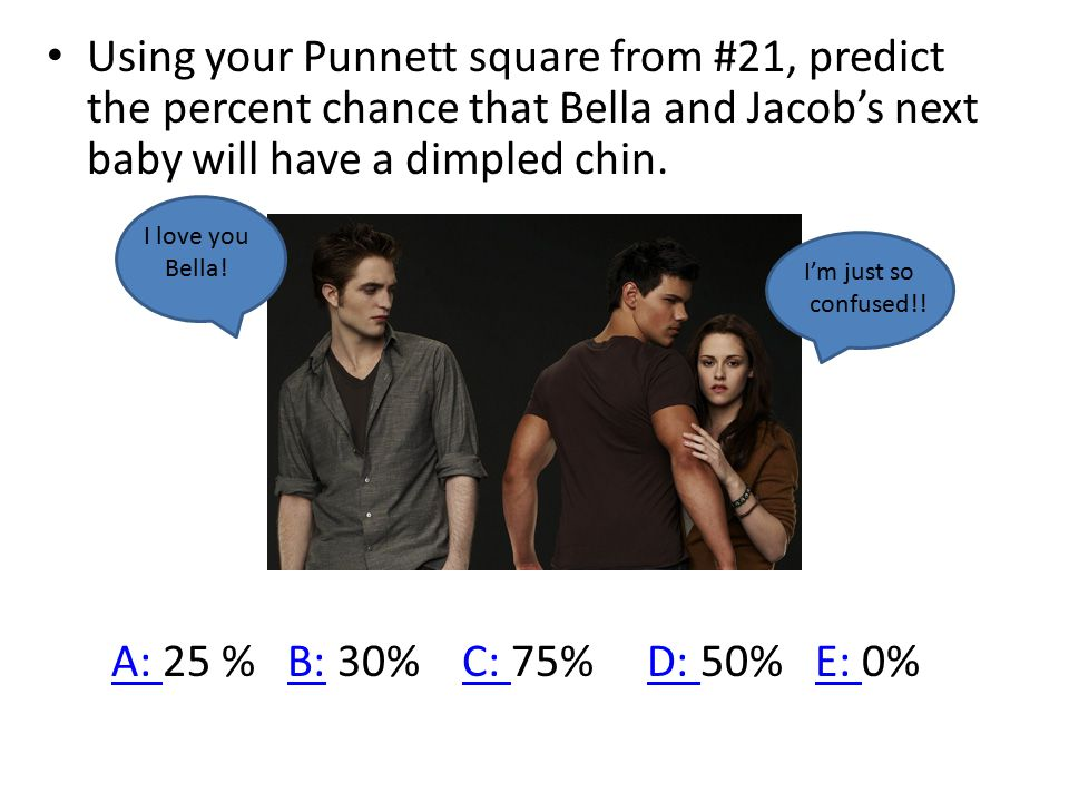 Using your Punnett square from #21, predict the percent chance that Bella and Jacob's next baby will have a dimpled chin.