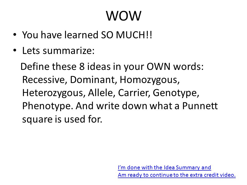 WOW You have learned SO MUCH!! Lets summarize: