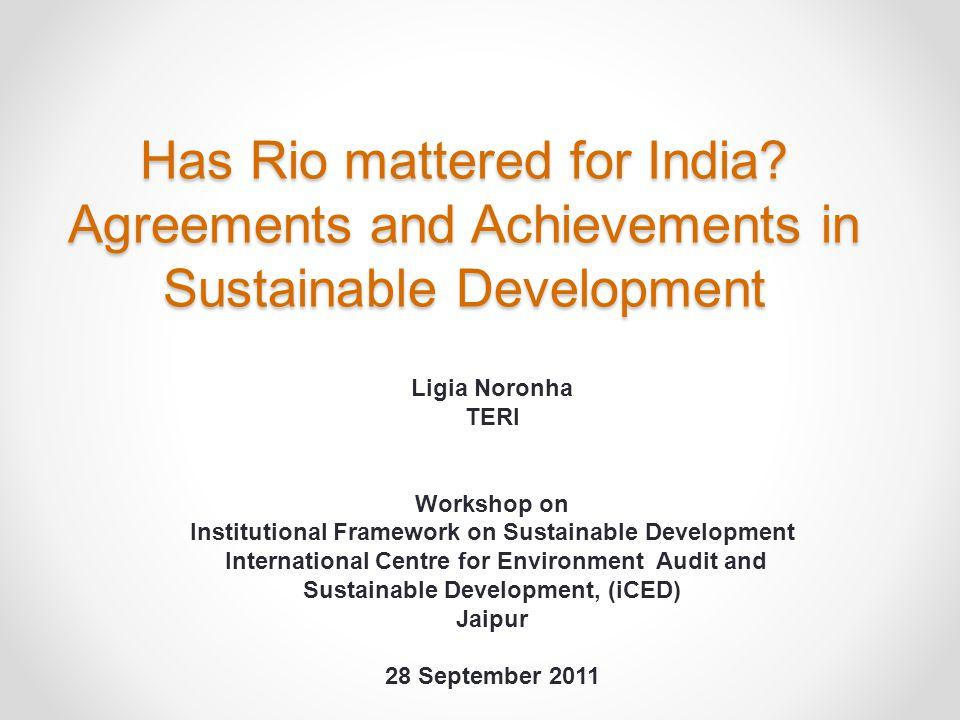 Institutional Framework on Sustainable Development