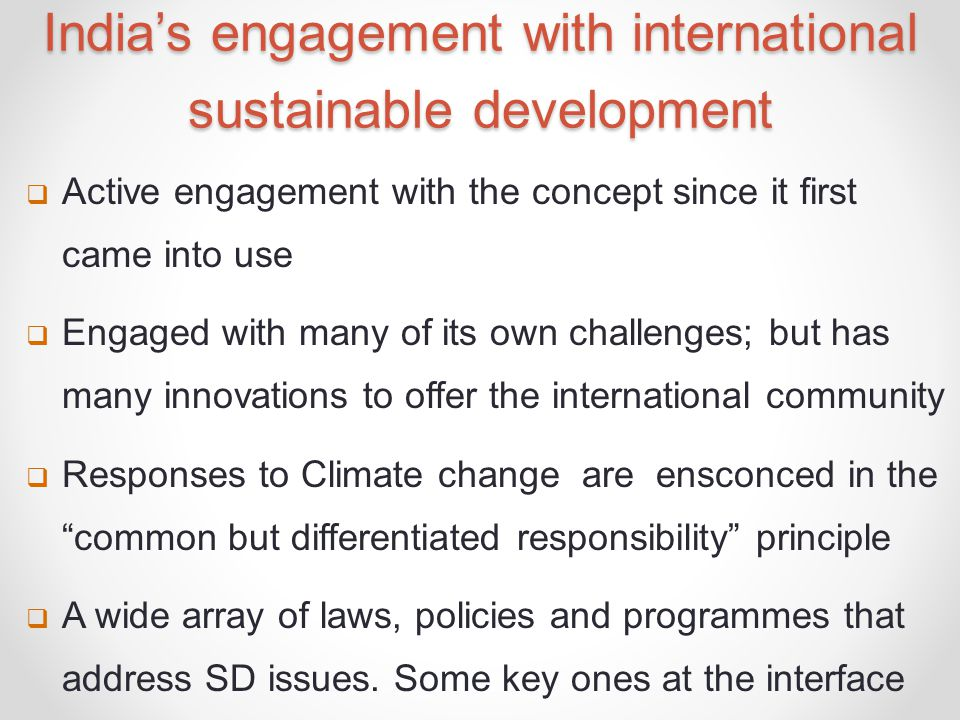 India's engagement with international sustainable development