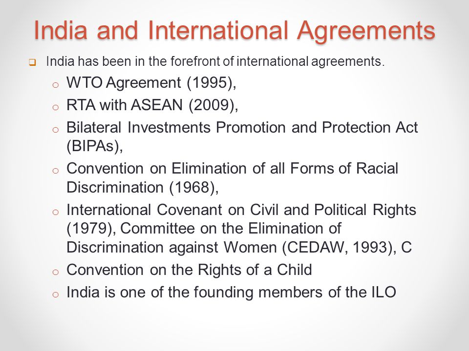 India and International Agreements
