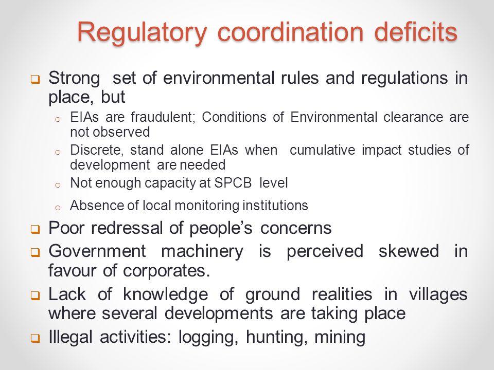 Regulatory coordination deficits