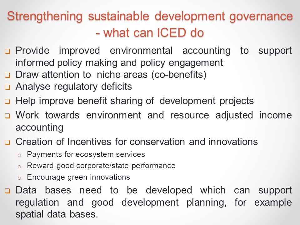 Strengthening sustainable development governance - what can ICED do