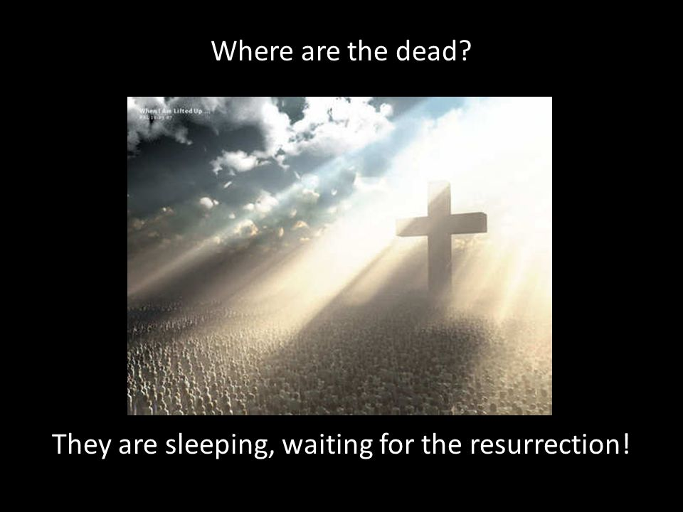 Where are the dead They are sleeping, waiting for the resurrection!