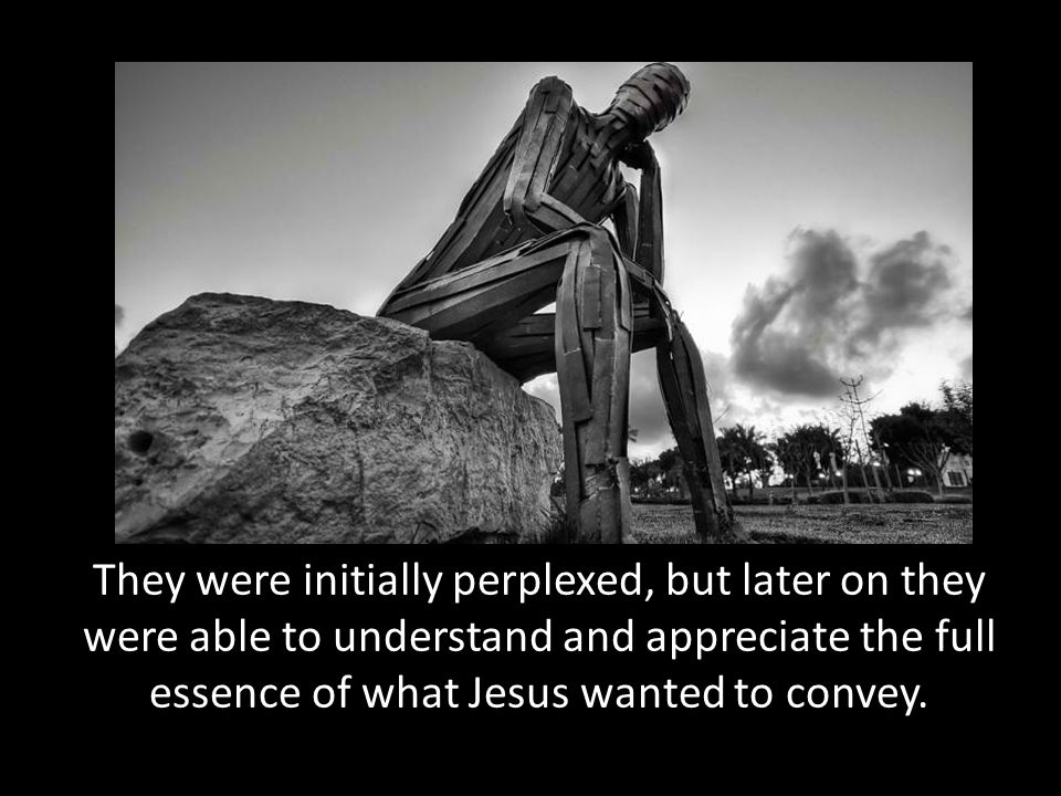 They were initially perplexed, but later on they were able to understand and appreciate the full essence of what Jesus wanted to convey.