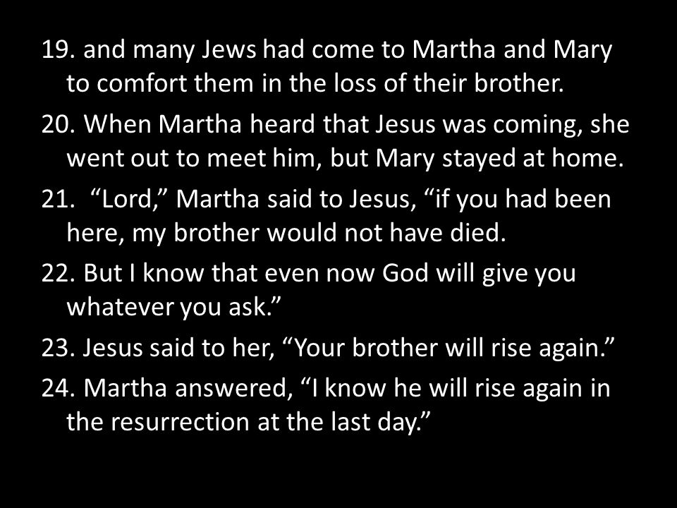 19. and many Jews had come to Martha and Mary to comfort them in the loss of their brother.