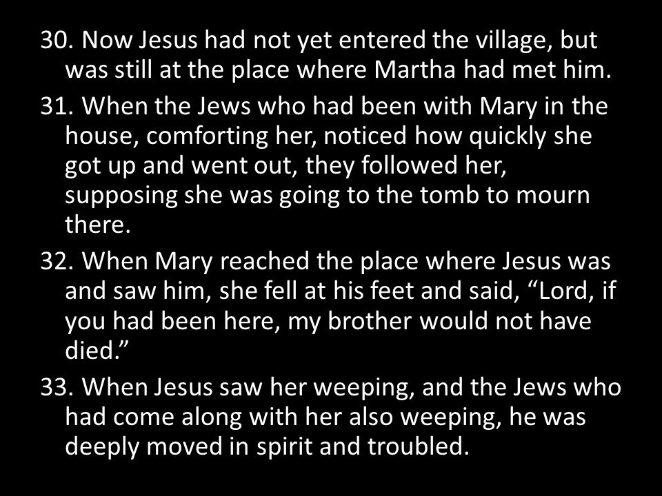 30. Now Jesus had not yet entered the village, but was still at the place where Martha had met him.