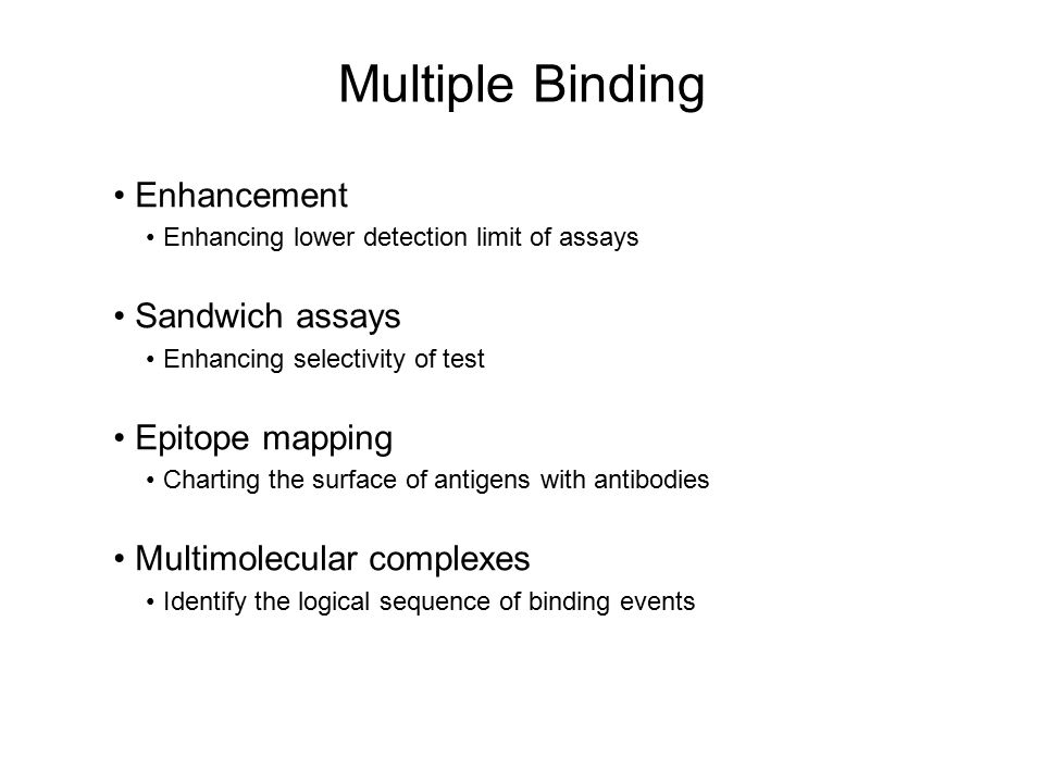 Multiple Binding Enhancement Sandwich assays Epitope mapping