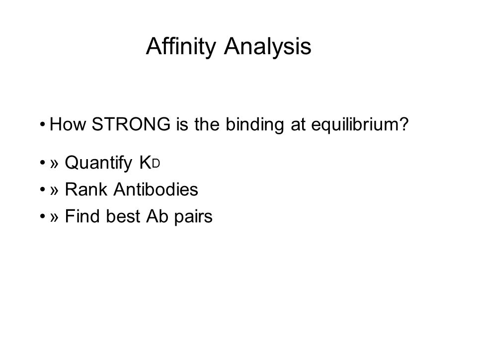 Affinity Analysis How STRONG is the binding at equilibrium