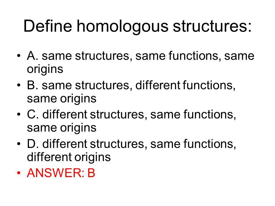 Define homologous structures: