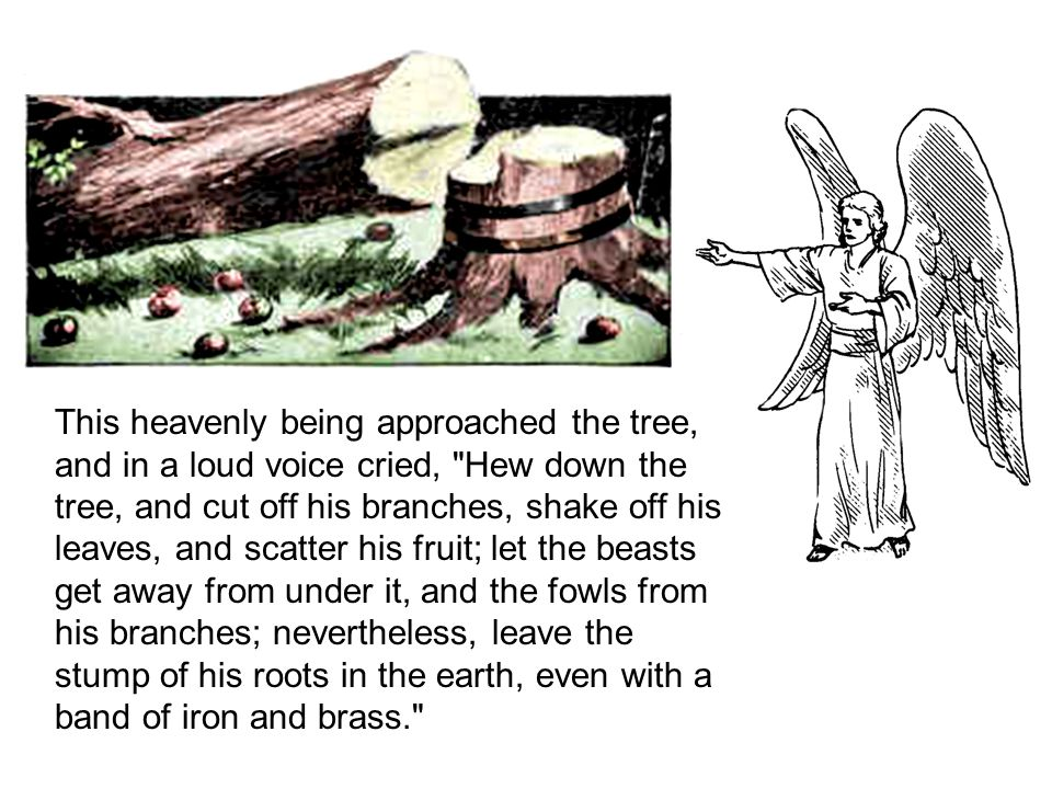 This heavenly being approached the tree, and in a loud voice cried, Hew down the tree, and cut off his branches, shake off his leaves, and scatter his fruit; let the beasts get away from under it, and the fowls from his branches; nevertheless, leave the stump of his roots in the earth, even with a band of iron and brass.