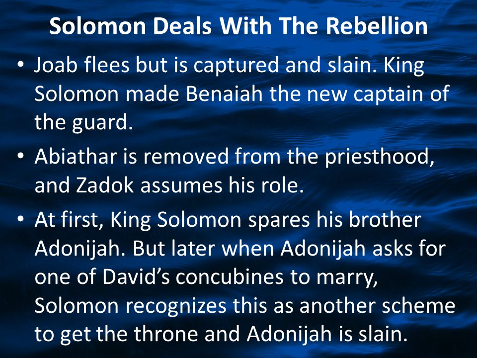 Solomon Deals With The Rebellion