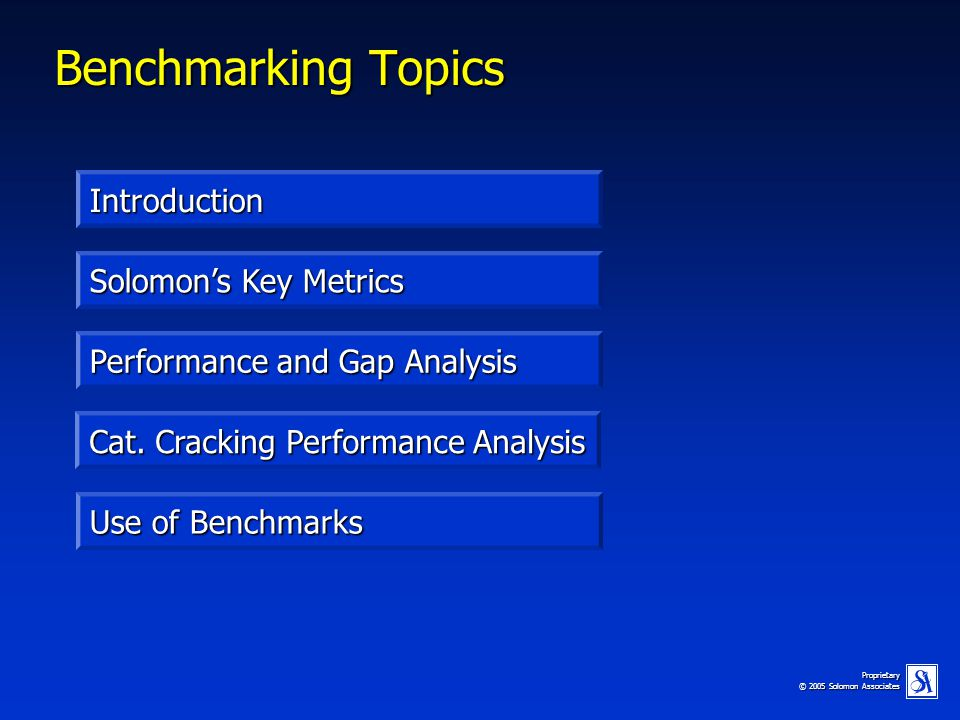 Benchmarking Topics Introduction Solomon's Key Metrics