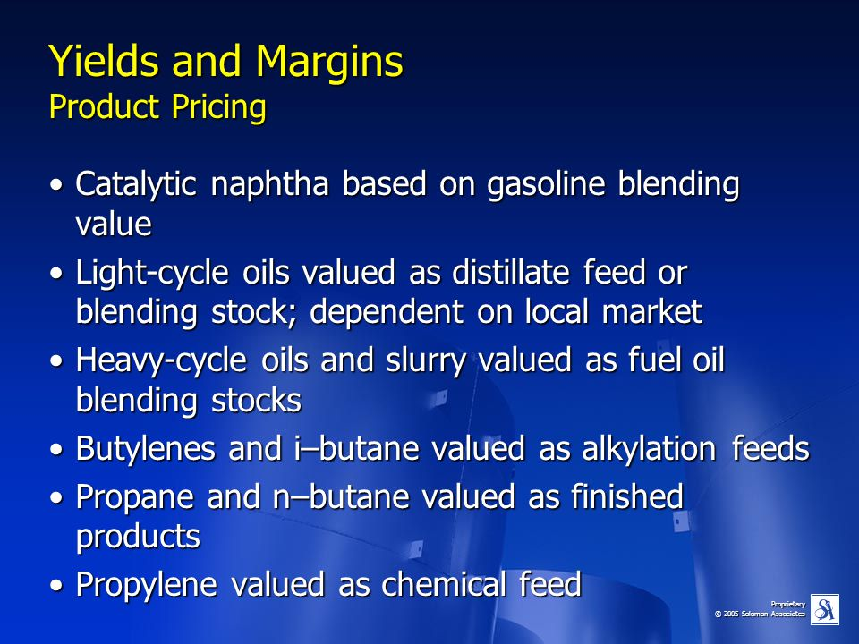 Yields and Margins Product Pricing