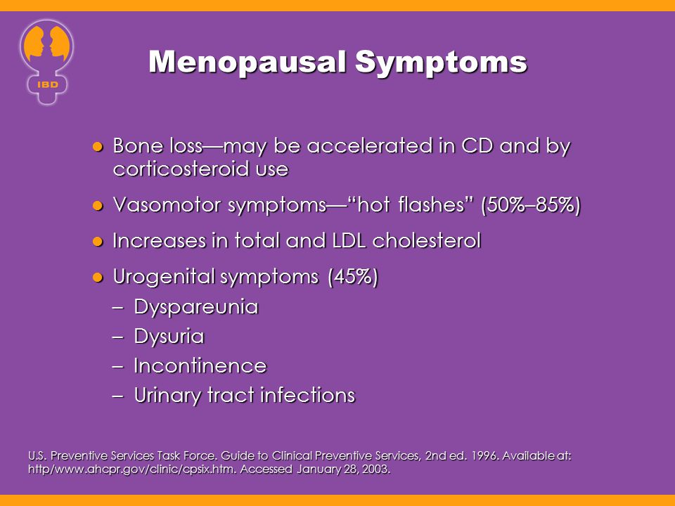Menopausal Symptoms Bone loss—may be accelerated in CD and by corticosteroid use. Vasomotor symptoms— hot flashes (50%–85%)