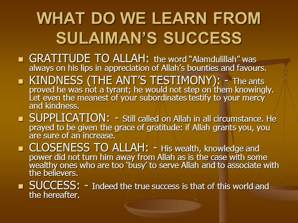 WHAT DO WE LEARN FROM SULAIMAN'S SUCCESS
